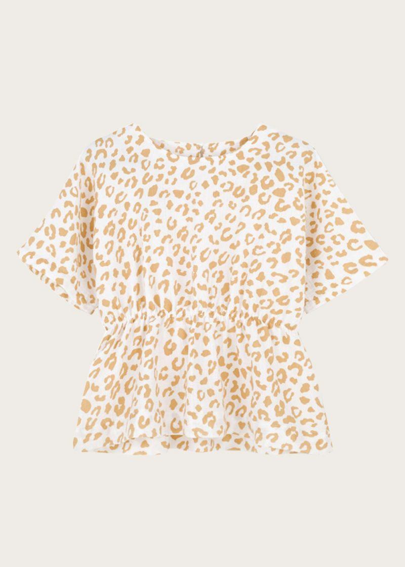 bluzka ściągana w pasie Golden Leopard