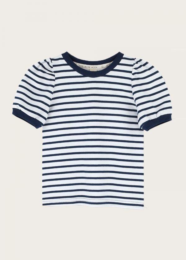 bluzka z bufkami Blue Stripes