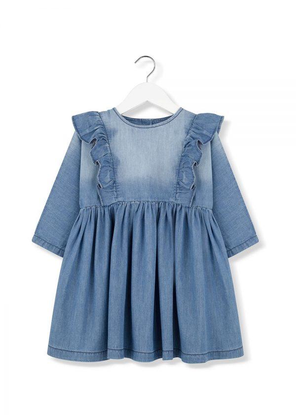 denim frill dress