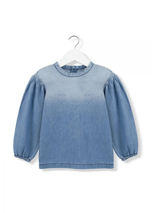 denim puff blouse