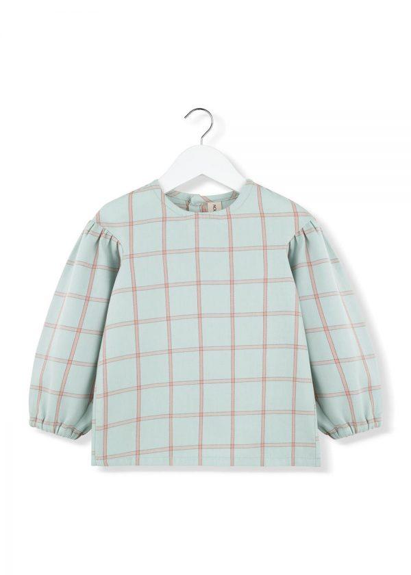 mint plaid puff blouse