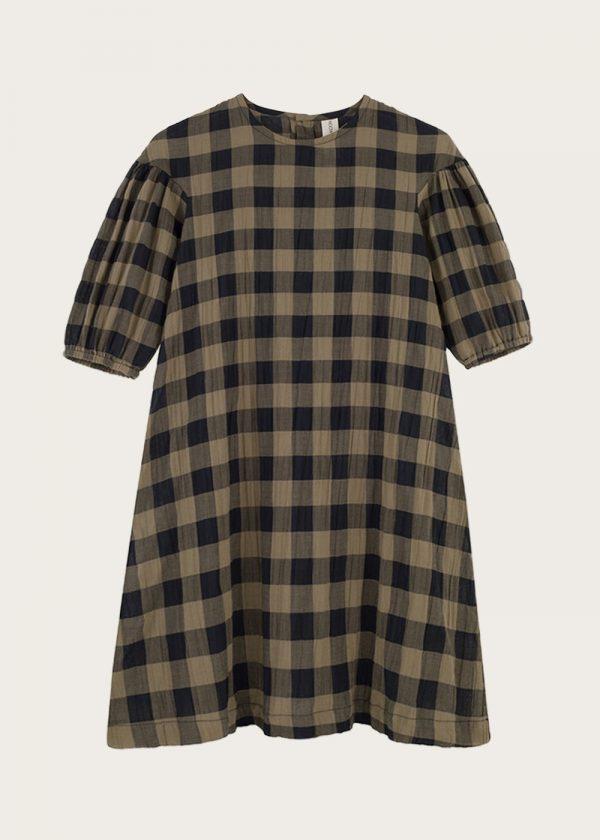 sukienka z bufkami Classic Check Khaki