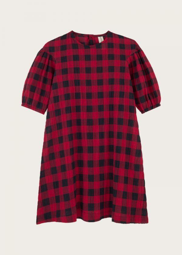 sukienka z bufkami Classic Check Red