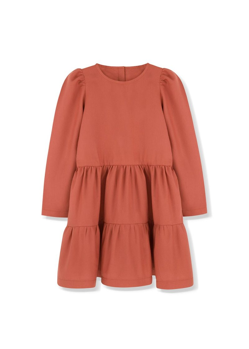 sukienka z bufkami rust