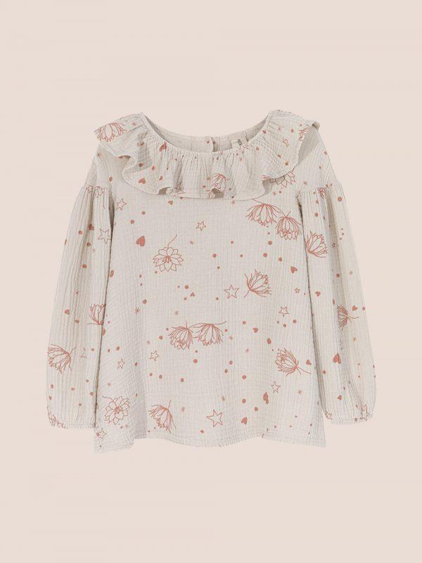 Starflower collar blouse cream