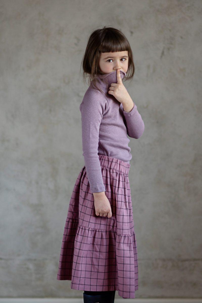 długa spódnica za kolana w krate, long skirt purlpe, check skirt