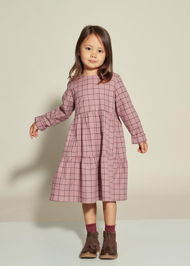 plaid dress, sukienka w kratkę, fioletowa sukienka