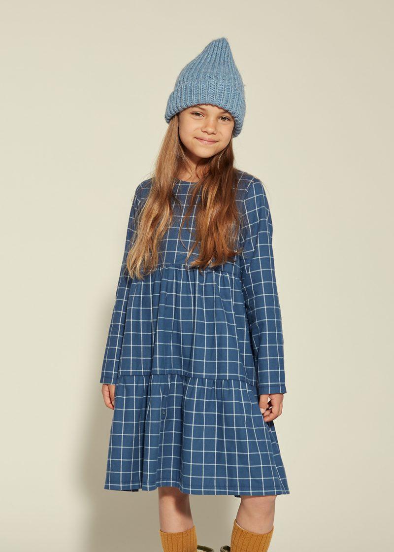 plaid navy dress, granatowa sukienka w kratkę