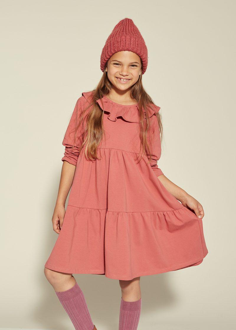 dzianinowa sukienka, jersey dress, frill dress, cascade dress