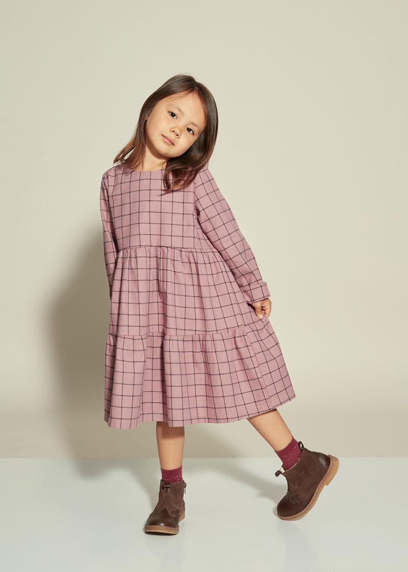 fioletowa sukienka, purple dress plaid