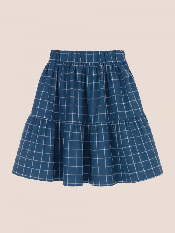 granatowa spódnica, spódniczka w kartkę, plaid skirt, frill skirt