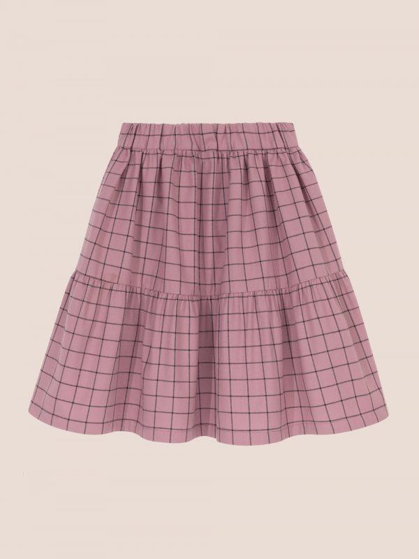 fioletowa spódnica w kratę, spódnica z falbanami, plaid skirt