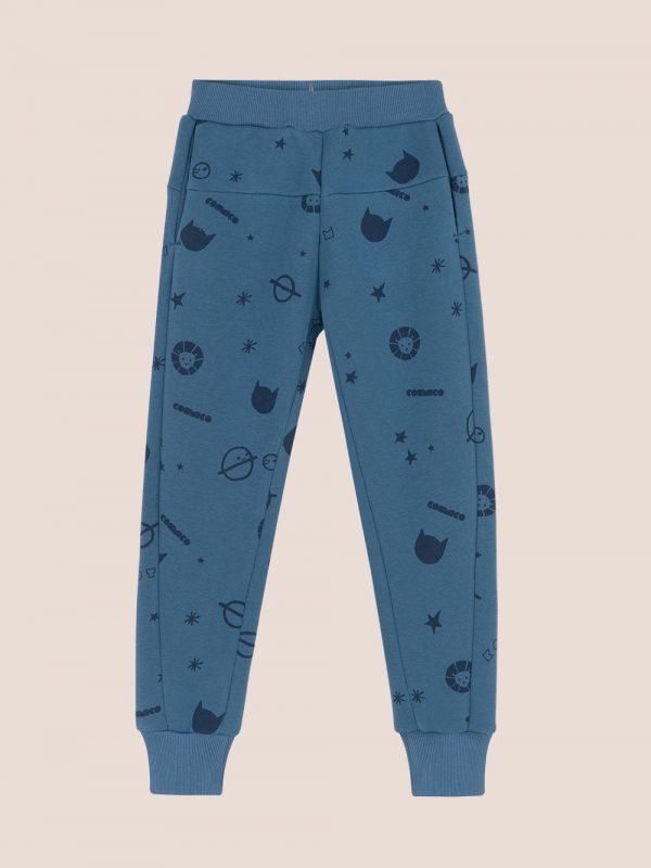 spodnie dresowe, granatowe joggersy, navy blue joggers, allover print joggers, cosmi print