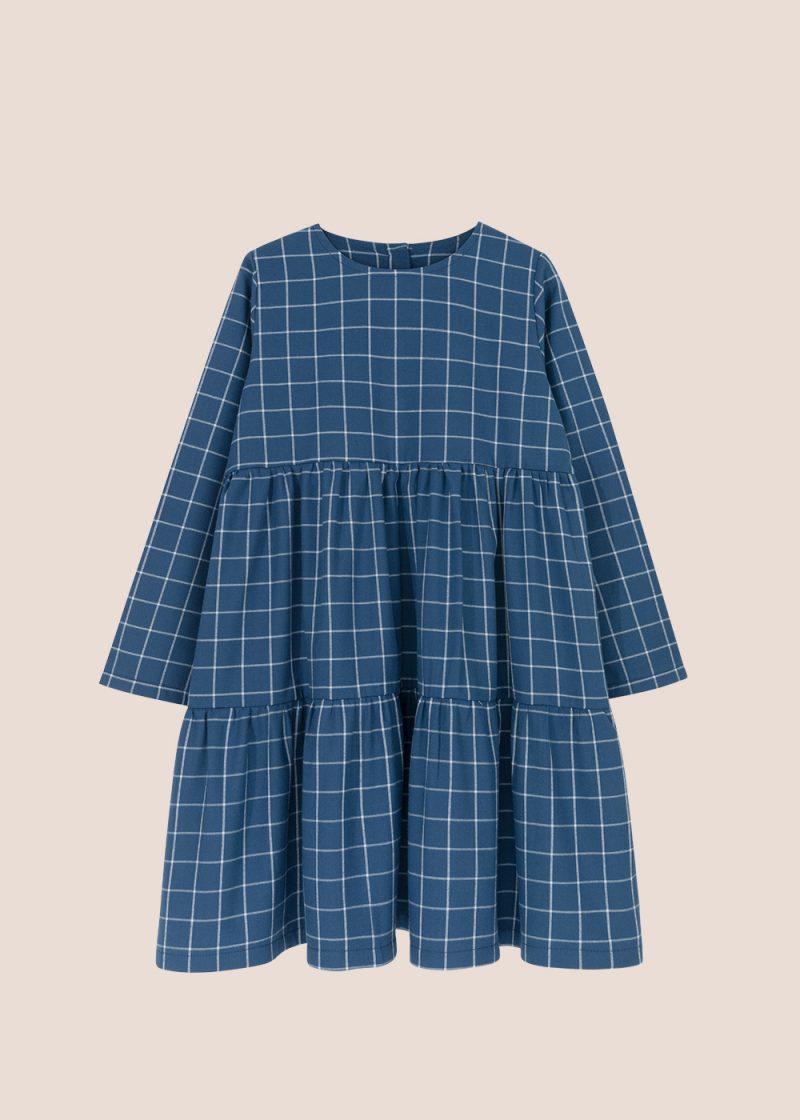 granatowa sukienka, sukienka w kratkę, plaid dress, sukienka kaskadowa