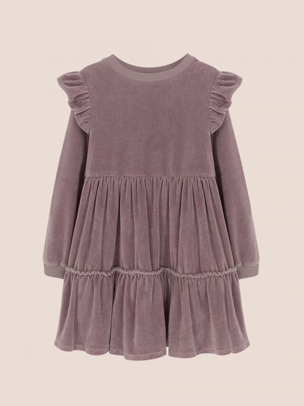 fioletowa sukienka welurowa, velour dress purple