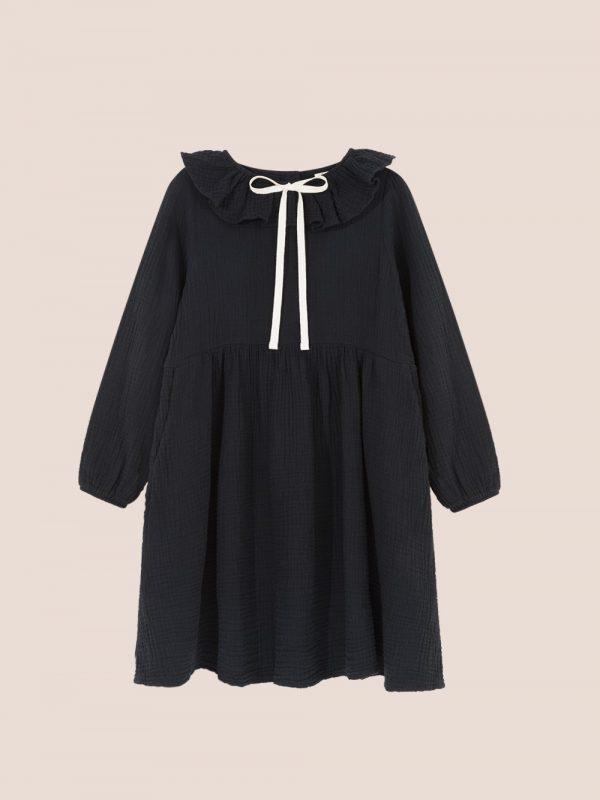 sukienka z muzlinu, czarna sukienka z kokardką, bow black dress, muslin dress
