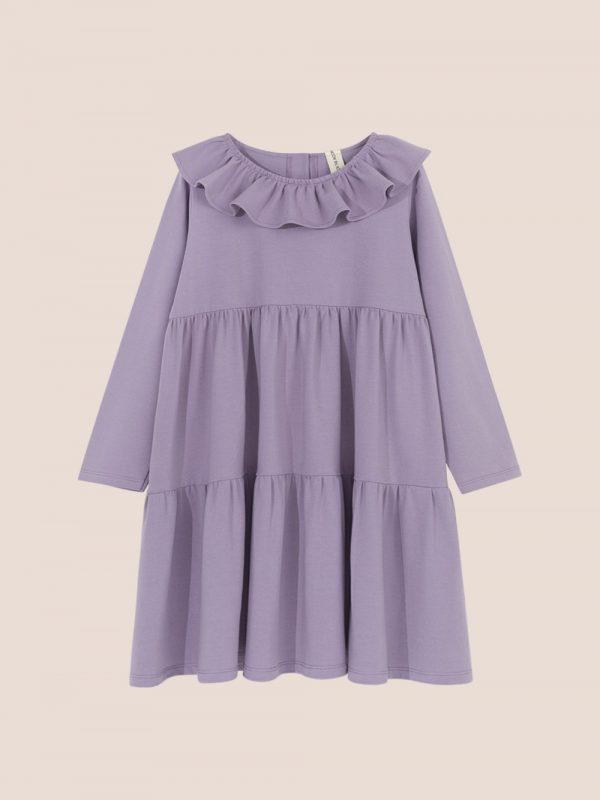 fioletowa sukienka dzianionowa, sukienka z kołnierzem, sukienka lawendowa z dzianiny