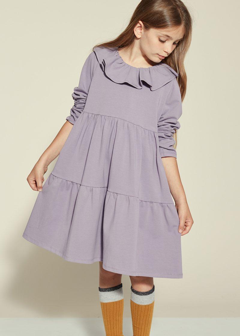 sukienka z falbanami fioletowa