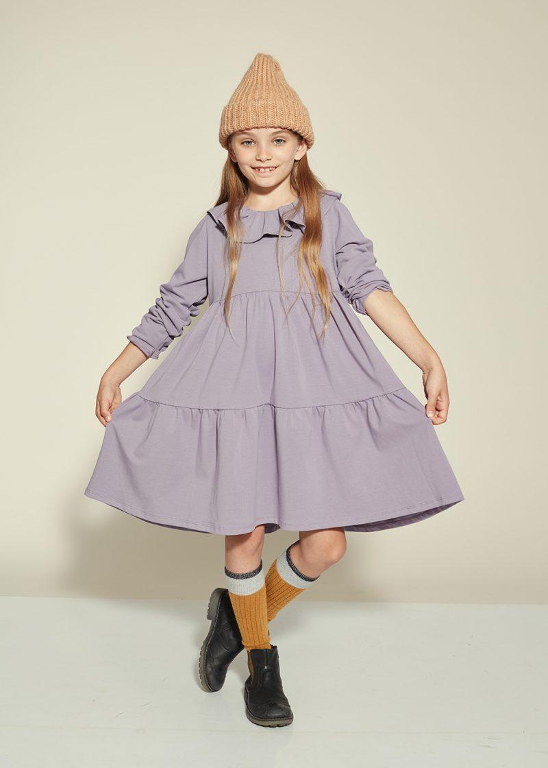 fioletowa sukienka kaskadowa, laveder dress