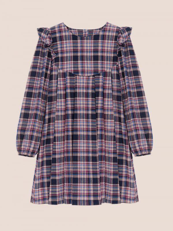 sukienka w kratke, plaid dress, sukienka z falbankami, frill dress