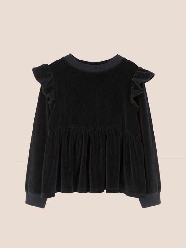 czarna bluzka welurowa, bluzka z weluru